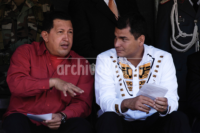 President of Venezuela Hugo Chavez during a visit to Quito, Ecuador, for a meeting with his counterpart Rafael Correa and Bolivian President Evo Morales