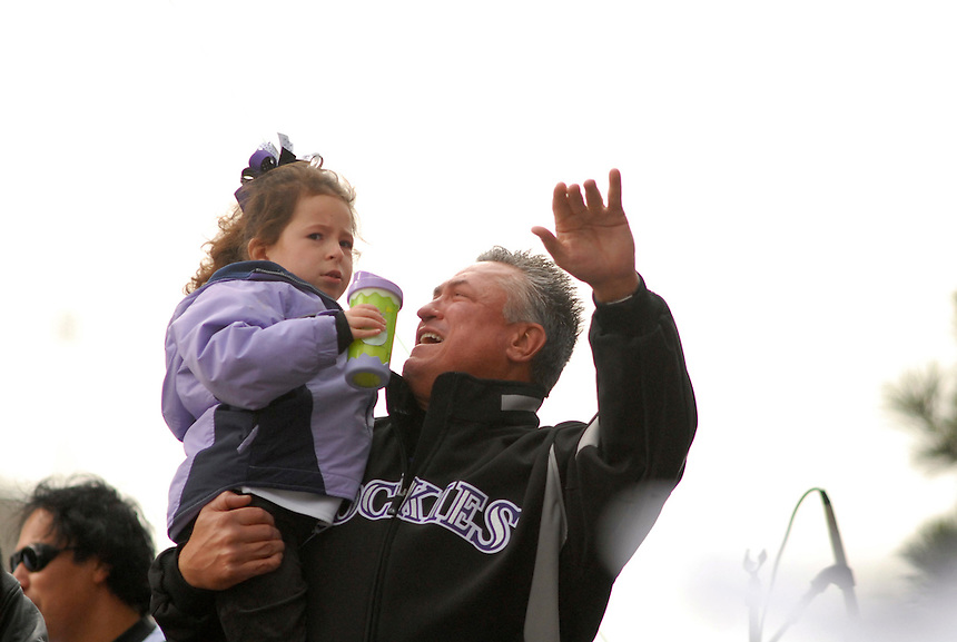 Colorado Rockies manager Clint Hurdle during a downtown denver event to celebrate the Colorado Rockies 2007 season.