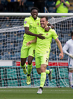 Rakish Bingham of Hartlepool United congratulates goal scorer Carl Magnay (right) of Hartlepool United during the Sky Bet League 2 match between Wycombe Wanderers and Hartlepool United at Adams Park, High Wycombe, England on 5 September 2015. Photo by Andy Rowland.