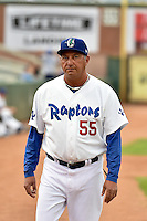 Ogden Raptors pitching coach Greg Sabat (55) prior to the game against the Grand Junction Rockies during Opening Night of the Pioneer League Season on June 16, 2014 at Lindquist Field in Ogden, Utah. (Stephen Smith/Four Seam Images)