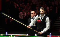 Judd Trump weighs up his options over his next shot during the Dafabet Masters Quarter Final 2 match between Judd Trump and Neil Robertson at Alexandra Palace, London, England on 15 January 2016. Photo by Liam Smith / PRiME Media Images.