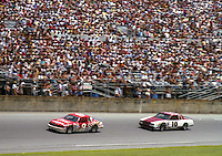 Bill Elliott 9 Greg Sacks 10 action Pepsi Firecracker 400 at Daytona International Speedway in Daytona Beach, FL on July 4, 1985. (Photo by Brian Cleary/www.bcpix.com)