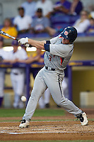 Auburn Tigers outfielder Cullen Wacker #3 swings the bat against the LSU Tigers in the NCAA baseball game on March 22nd, 2013 at Alex Box Stadium in Baton Rouge, Louisiana. LSU defeated Auburn 9-4. (Andrew Woolley/Four Seam Images).