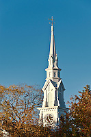 Church spire, Castine, Maine, ME, USA