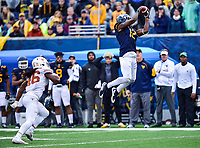 Morgantown, WV - NOV 18, 2017: West Virginia Mountaineers wide receiver Gary Jennings (12) converts a big third down late in the 4th quarter of game between West Virginia and Texas at Mountaineer Field at Milan Puskar Stadium Morgantown, West Virginia. (Photo by Phil Peters/Media Images International)