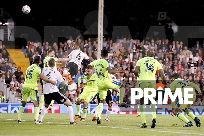 GOAL - Denis Odoi of Fulham scores during the Sky Bet Championship play off semi final 2nd leg match between Fulham and Derby County at Craven Cottage, London, England on 15 May 2018. Photo by Carlton Myrie / PRiME Media Images.