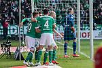 13.04.2019, Weserstadion, Bremen, GER, 1.FBL, Werder Bremen vs SC Freiburg<br /> <br /> DFL REGULATIONS PROHIBIT ANY USE OF PHOTOGRAPHS AS IMAGE SEQUENCES AND/OR QUASI-VIDEO.<br /> <br /> im Bild / picture shows<br /> Jubel 1:0, Davy Klaassen (Werder Bremen #30) bejubelt seinen Treffer per Kopfball über Nico Schlotterbeck (SC Freiburg #49) zum 1:0 gegen Alexander Schwolow (SC Freiburg #01) zum 1:0, Claudio Pizarro (Werder Bremen #04), Max Kruse (Werder Bremen #10), <br /> <br /> Foto © nordphoto / Ewert
