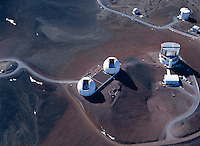 Keck Telescopes (center), Subaru Telescope (right), James Clerk Maxwell Telescope (top right), and Caltech Submillimeter Observatory (top center-right), aerial photo, Mauna Kea Observatory, Hawaii