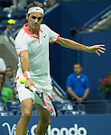 Roger Federer (SUI) makes quick work of Richard Gasquet (FRA) 6-3, 6-3, 6-1 at the US Open in Flushing, NY on September 9, 2015.