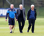 Ally McCoist at training with ex Rangers centre half Roger Hynd and 1960s St Mirren player Cammy Murray