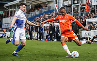 Blackpool's Nathan Delfouneso crosses under pressure from Bristol Rovers' Ollie Clarke <br /> <br /> Photographer Andrew Kearns/CameraSport<br /> <br /> The EFL Sky Bet League Two - Bristol Rovers v Blackpool - Saturday 2nd March 2019 - Memorial Stadium - Bristol<br /> <br /> World Copyright © 2019 CameraSport. All rights reserved. 43 Linden Ave. Countesthorpe. Leicester. England. LE8 5PG - Tel: +44 (0) 116 277 4147 - admin@camerasport.com - www.camerasport.com