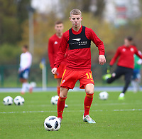 16th November 2019; Leckwith Stadium, Cardiff, Glamorgan, Wales; European Championship Under 19 2020 Qualifiers, Russia under 19s versus Wales under 19s; Keenan Patten of Wales Under 19 warms up before the game - Editorial Use