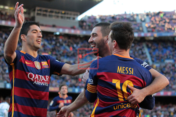 League BBVA 2015/2016. Game: 19.<br /> FC Barcelona vs Granada CF: 4-0.<br /> Luis Suarez, Lionel Messi &amp; Arda Turan.