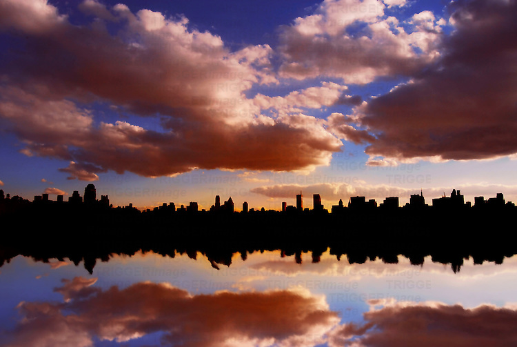 Central Park's Reservoir with Reflections of Dowtown.