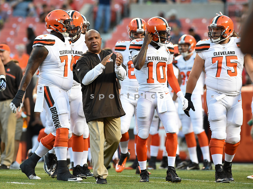 CLEVELAND, OH - AUGUST 18, 2016: Head coach Hue Jackson of the Cleveland Browns leads the team off the field prior to a preseason game on August 18, 2016 against the Atlanta Falcons at FirstEnergy Stadium in Cleveland, Ohio. Atlanta won 24-13. (Photo by: 2016 Nick Cammett/Diamond Images) *** Local Caption *** Hue Jackson