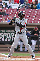 Quad Cities River Bandits outfielder Daz Cameron (10) at bat during a Midwest League game against the Wisconsin Timber Rattlers on April 20, 2016 at Fox Cities Stadium in Appleton, Wisconsin.  Quad Cities defeated Wisconsin 5-2. (Brad Krause/Four Seam Images)