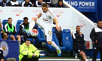 Angel Rangel of Swansea City during the Barclays Premier League match between Leicester City and Swansea City played at The King Power Stadium, Leicester on 24th April 2016