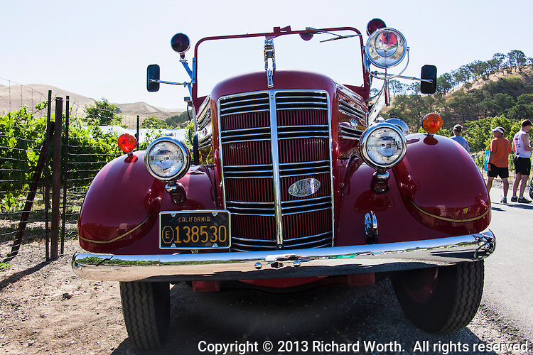 Antique fire engine on display during the Hook and Ladder run at the Wente Winery in Livermore, CA.  Run supports injured and fallen Firefighters, Burn Foundation and Local Charities in the Tri Valley .