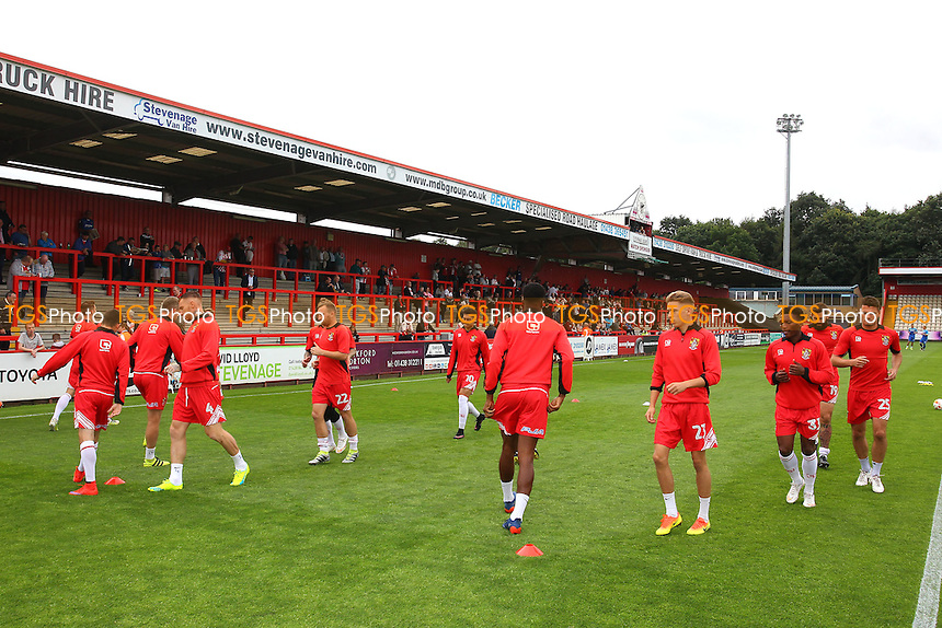 Stevenage players warm up during Stevenage vs Hartlepool United, Sky Bet EFL League 2 Football at the Lamex Stadium on 3rd September 2016