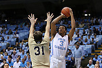18 November 2015: North Carolina's Kennedy Meeks (3) and Wofford's CJ Neumann (31). The University of North Carolina Tar Heels hosted the Wofford College Terriers at the Dean E. Smith Center in Chapel Hill, North Carolina in a 2015-16 NCAA Division I Men's Basketball game. UNC won the game 78-58.