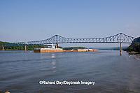 63895-13112 Barge under bridge on Mississippi River at Savanna, IL