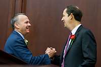 TALLAHASSEE, FLA. 3/7/17-House Speaker Richard Corcoran, R-Land O'Lakes, left, greets Sen. Joe Negron, R-Stuart, during opening day of the 2017 legislative session at the Capitol in Tallahassee.<br /> <br /> COLIN HACKLEY PHOTO