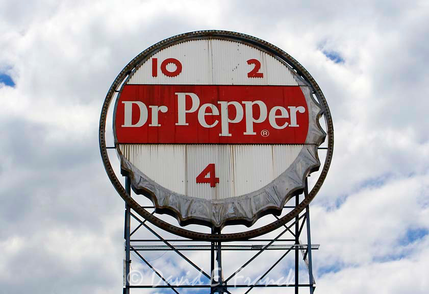 Old Dr. Pepper sign overlooking downtown Roanoke, Virginia.