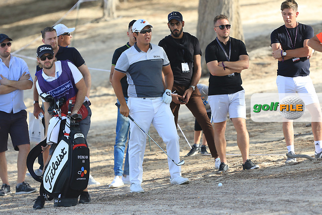 Byeong Hun An (KOR) in the rough on the 16th during Round 4 of the Omega Dubai Desert Classic, Emirates Golf Club, Dubai,  United Arab Emirates. 27/01/2019<br /> Picture: Golffile | Thos Caffrey<br /> <br /> <br /> All photo usage must carry mandatory copyright credit (&copy; Golffile | Thos Caffrey)