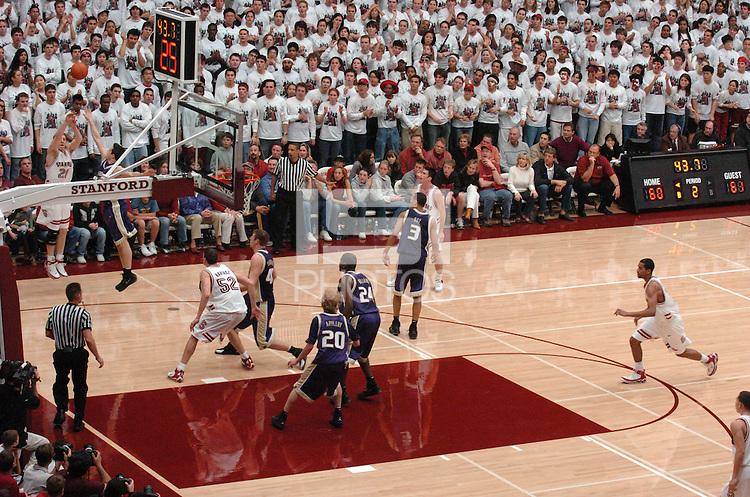 29 January 2006: Dan Grunfeld, Chris Hernandez, Matt Haryasz and Lawrence Hill during Stanford's 76-67 overtime win against Washington Huskies at Maples Pavilion in Stanford, CA.