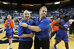 Bishop Gorman head coach Grant Rice, right, and assistant coach Geoff Lincoln celebrate after the Gaels defeated Hug High School 96-51 for the NIAA 4A State Basketball Championship at Lawlor Events Center, in Reno, Nev, on Friday, Feb. 24, 2012. .Photo by Cathleen Allison