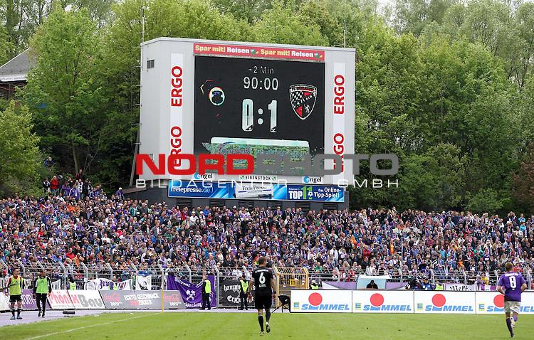 12.05.13, Aue, Sparkassen-Erzgebirgsstadion, GER, Aue , 2.FBL, 33.Spieltag, FC Erzgebirge Aue vs FC Ingolstadt04<br />  im Bild  Anzeigetafel, Endstand 0:1 <br /> <br />  // during the match between Erzgebirge Aue and FC Ingolstadt 04 on 2013/05/12 <br />   Foto &copy; nph / Hessland