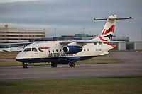 A British Airways operated by Sun-Air Dornier 328JET Registration OY-NCN at Manchester Airport on 11.2.19 going to Billund Airport, Denmark.