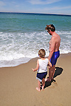 Father & Son On Beach