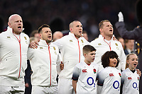 England players sing the national anthem. Natwest 6 Nations match between England and Wales on February 10, 2018 at Twickenham Stadium in London, England. Photo by: Patrick Khachfe / Onside Images
