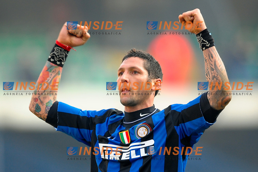 Esultanza di Marco MATERAZZI Inter<br /> Verona 6/1/2010 Stadio &quot;Bentegodi&quot;<br /> Chievo Verona - Inter 0-1<br /> Campionato Italiano Serie A 2009/2010<br /> Foto Andrea Staccioli Insidefoto