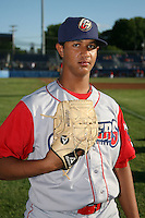 June 22, 2009:  Pitcher Esmelvin Jimenez of the Williamsport Crosscutters before a game at Dwyer Stadium in Batavia, NY.  The Crosscutters are the NY-Penn League Short-Season Single-A affiliate of the Philadelphia Phillies.  Photo by:  Mike Janes/Four Seam Images