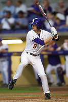LSU Tigers outfielder Mark Laird #9 at bat against the Auburn Tigers in the NCAA baseball game on March 22nd, 2013 at Alex Box Stadium in Baton Rouge, Louisiana. LSU defeated Auburn 9-4. (Andrew Woolley/Four Seam Images).