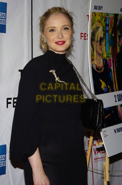 """JULIE DELPY.6th Annual Tribeca Film Festival - """"2 Days In Paris"""" US premiere at Clearview Chelsea West Cinemas, New York City, New York, USA..April 26th, 2007.half length black skirt top bag hand on hip brooch .CAP/ADM/BL.©Bill Lyons/AdMedia/Capital Pictures *** Local Caption ***"""