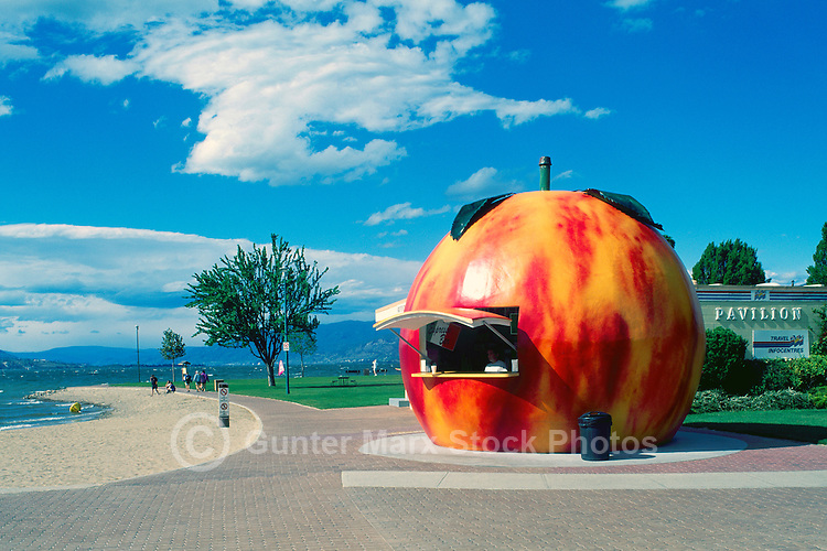 Penticton, Okanagan Valley, BC, British Columbia, Canada - Giant Peach Refreshment Concession Stand at Okanagan Lake, Snack Bar at Beach