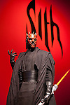 A scale model of Sith Lord Darth Maul on display at the exhibition Star Wars Vision at the Tokyo City View Sky Gallery in Roppongi Hills on April 28, 2015, Tokyo, Japan. The exhibition is divided into six themed areas (Original, Force, Battle, Saga, Galaxy and Droid) located in different halls, and visitors can see models of the battle spaceships, life-size statues of the principal characters and Jedi weapons from the movies. The exhibition also introduces 60 art pieces and 100 movie props. It will open to the public from April 29th to June 28th. (Photo by Lucasfilm/Rodrigo Reyes Marin/AFLO)