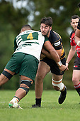 David O'Connor runs in to Villiami Taulani. Counties Manukau Club Rugby game between Manurewa and Bombay played at Mountfort Park Manurewa on Saturday June 2nd 2018. Bombay won the game 27 - 20 after leading 20 - 5 at halftime. <br /> Manurewa Kidd Contracting 20 - Caleb Fa'alili, William Raea, Willie Tuala, Viliami Taulani tries.<br /> Bombay 27 - Liam Daniela, Sepuloni Taufa, Talaga Alofipo tries, Ki Anufe 3 conversions, Ki Anufe 2 penalties.<br /> Photo by Richard Spranger.