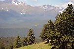 Helicopter Flying through Rocky Mountain National Park, Colorado, USA