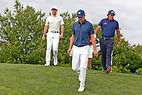 Jordan Spieth (USA) and Rory McIlroy (NIR) and Phil Mickelson (USA) walk the 15th hole during the second round of the 118th U.S. Open Championship at Shinnecock Hills Golf Club in Southampton, NY, USA. 15th June 2018.<br /> Picture: Golffile | Brian Spurlock<br /> <br /> <br /> All photo usage must carry mandatory copyright credit (&copy; Golffile | Brian Spurlock)