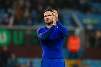 Sean Morrison of Cardiff City claps the fans at full time of the Sky Bet Championship match between Aston Villa and Cardiff City at Villa Park, Birmingham, England on 10 April 2018. Photo by Mark  Hawkins / PRiME Media Images.
