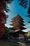 Goju-No-To, Gojunoto, five-storey pagoda, designated as the National Treasure. Shimo-Daigo part of Daigoji complex, Daigo-ji, Shingon Buddhist temple in Fushimi-ku, Kyoto, Japan 2017
