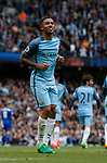 Gabriel Jesus of Manchester City celebrates his goal with a samba dance during the English Premier League match at the Etihad Stadium, Manchester. Picture date: May 13th 2017. Pic credit should read: Simon Bellis/Sportimage
