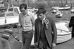 """Thorpe works for us."" Jeremy Thorpe on the election campaign trail mid Devon constituency 1979  Seen here with author and journalist Max Hastings. <br />