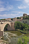 Europe, Spain, Toledo, St. Martin's  Bridge (Puente de San Martin) over the Tagus River with Toledo old town t in the Background