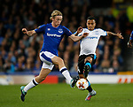 Tom Davies of Everton tackles Allan of Apollon Limassol FC during the Europa League Group E match at Goodison Park Stadium, Liverpool. Picture date: September 28th 2017. Picture credit should read: Simon Bellis/Sportimage