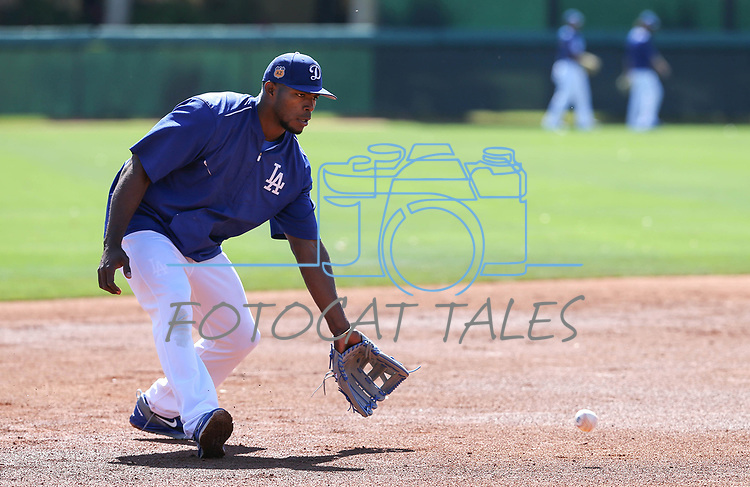 Los Angeles Dodgers' Yasiel Puig takes a little infield practice before a spring training game in Glendale, Ariz., on Friday, March 24, 2017.<br /> Photo by Cathleen Allison/Nevada Photo Source